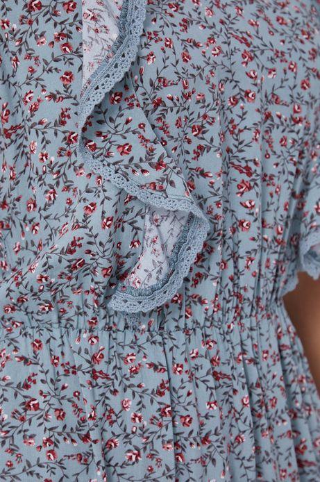 Sukienka damska z falbankami w kwiatowy wzór