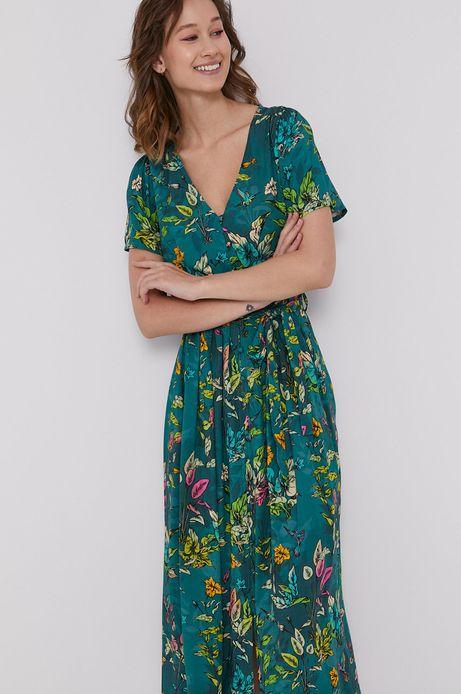 Sukienka damska z guzikami zielona