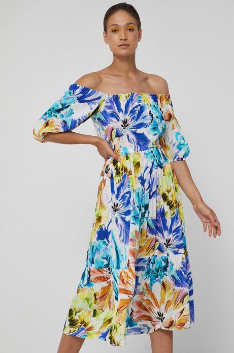 Sukienka damska z odkrytymi ramionami