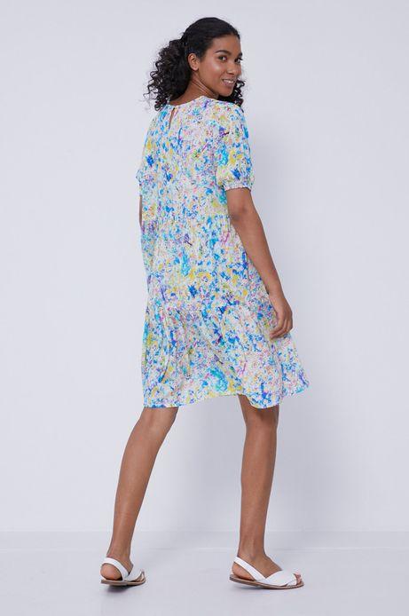 Wzorzysta sukienka damska z wiskozy w kształcie litery A