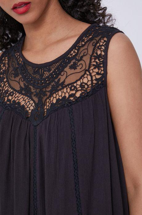 Sukienka damska z wiskozy z koronkową wstawką czarna