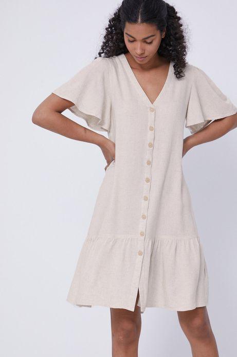 Sukienka damska z guzikami z domieszką lnu beżowa