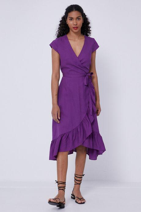 Sukienka damska z domieszką lnu fioletowa