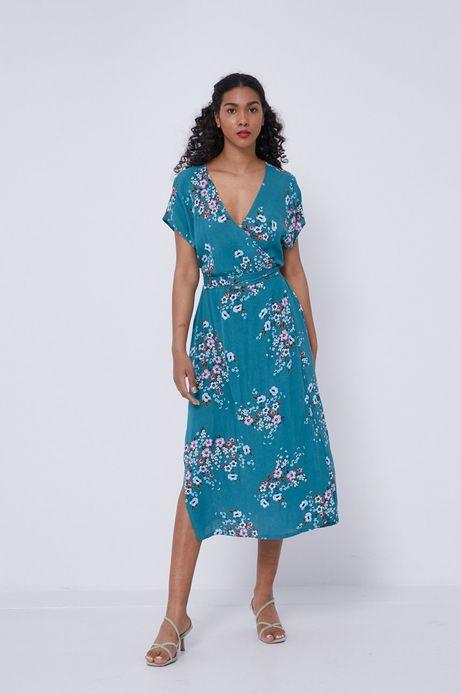 Sukienka damska z kopertowym dekoltem w kwiaty