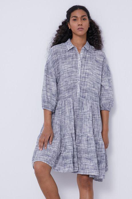 Sukienka damska z falbanką w koszulowym stylu