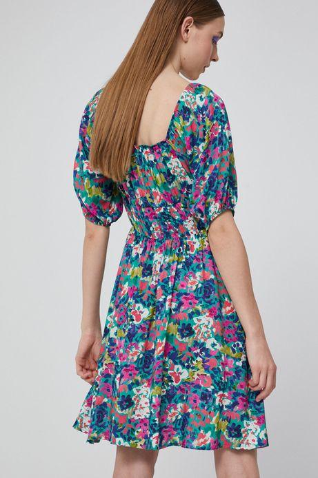 Wzorzysta sukienka damska z marszczeniami