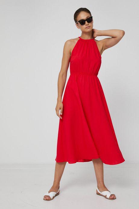 Sukienka damska z domieszką lnu czerwona