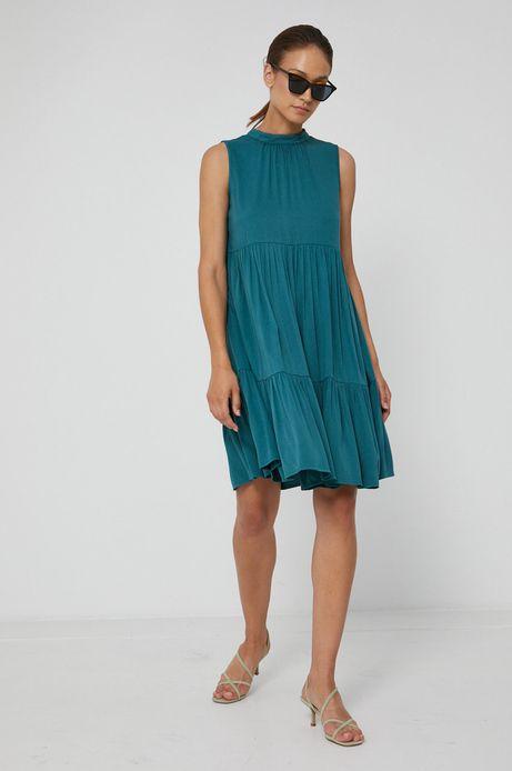 Sukienka damska w kształcie litery A z falbankami zielona