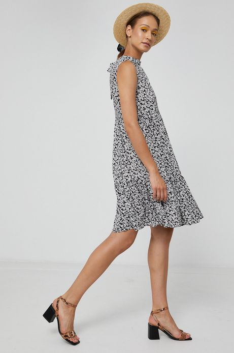 Sukienka damska w kształcie litery A z falbankami wzorzysta