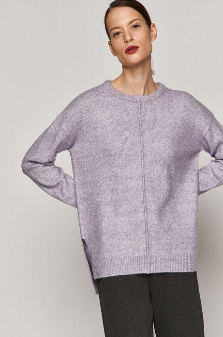 Sweter damski z okrągłym dekoltem fioletowy