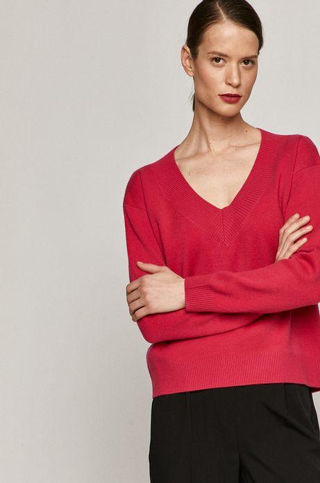 Sweter damski z dekoltem w serek różowy