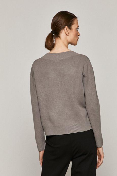 Sweter damski z dekoltem w serek szary