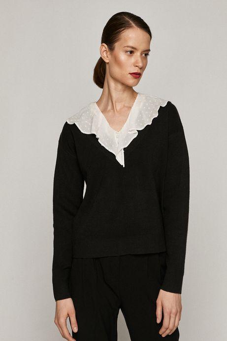 Sweter damski z dekoltem w serek czarny