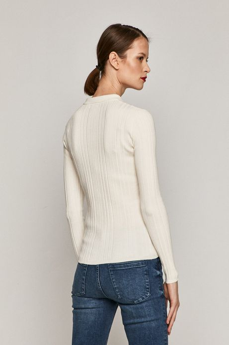Sweter damski z kołnierzykiem kremowy