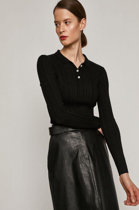 Sweter damski z kołnierzykiem czarny