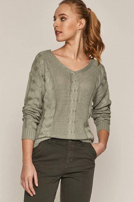 Sweter damski z warkoczowym splotem turkusowy