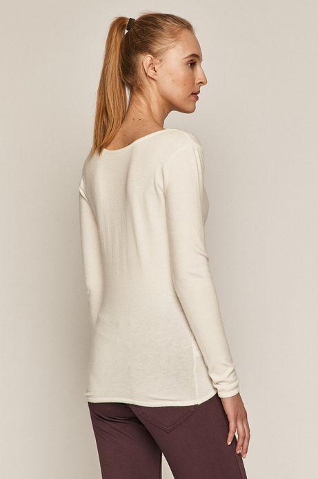 Sweter damski z dekoltem z gładkiej dzianiny kremowy