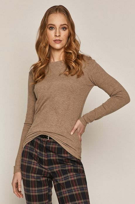 Sweter damski z dekoltem z gładkiej dzianiny beżowy