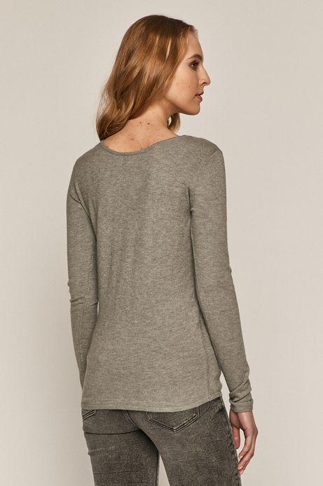 Sweter damski z dekoltem z gładkiej dzianiny szary