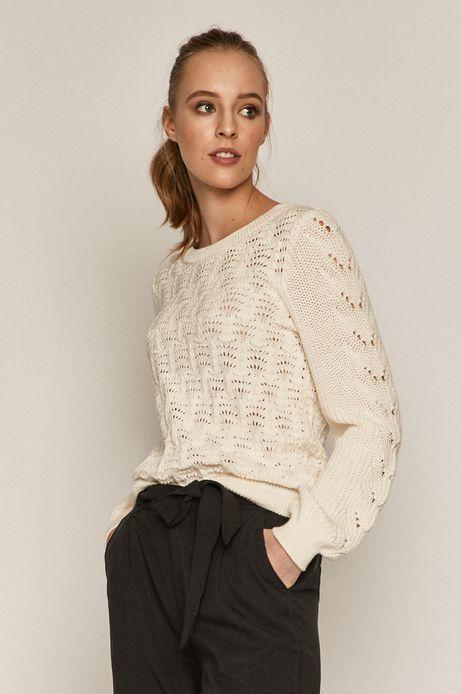 Ażurowy sweter damski z bawełnianej dzianiny kremowy