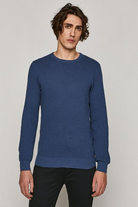 Sweter męski z bawełnianej dzianiny niebieski