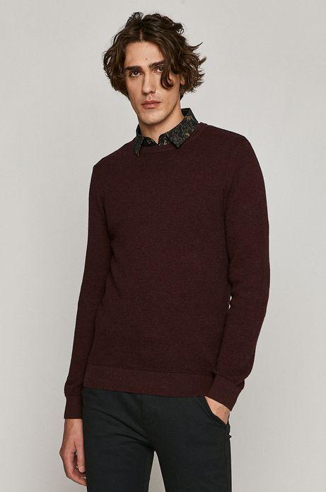 Sweter męski z bawełnianej dzianiny bordowy