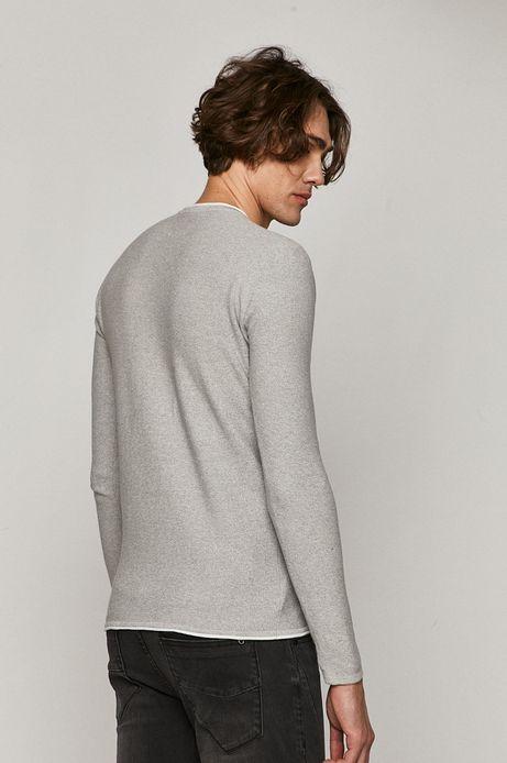 Sweter męski z guzikami z bawełnianej dzianiny szary