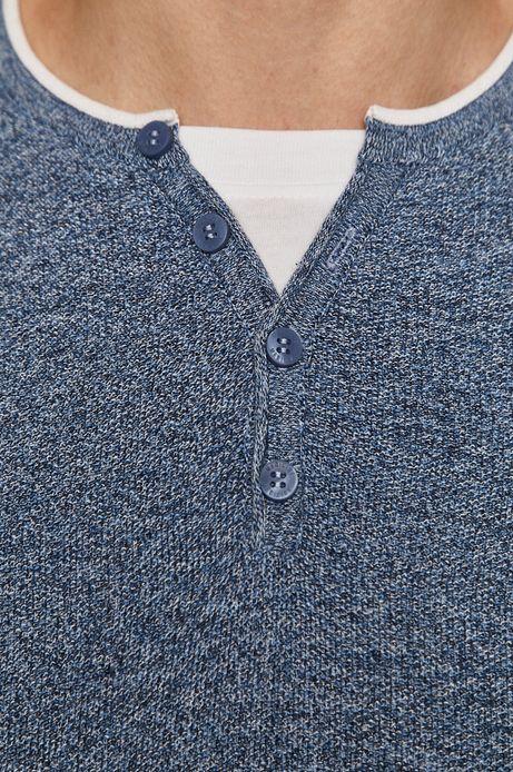 Sweter męski z guzikami z bawełnianej dzianiny niebieski