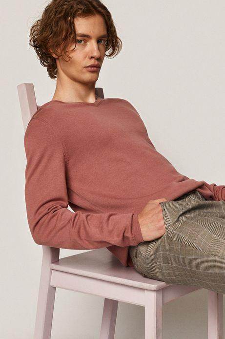 Sweter męski z dekoltem w serek fioletowy