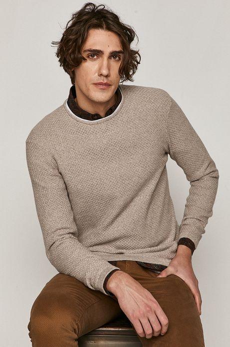 Sweter męski z melanżowej dzianiny beżowy