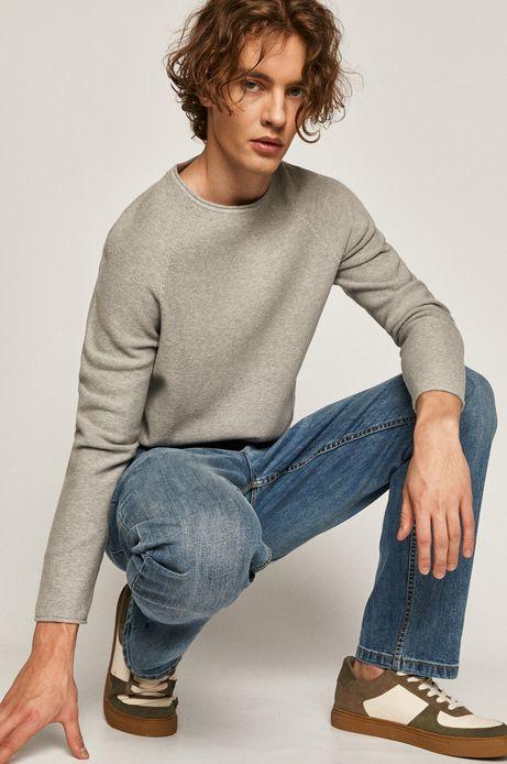 Sweter męski z bawełnianej dzianiny szary
