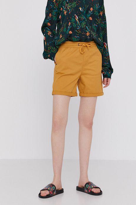 Szorty damskie z wywijanymi nogawkami żółte