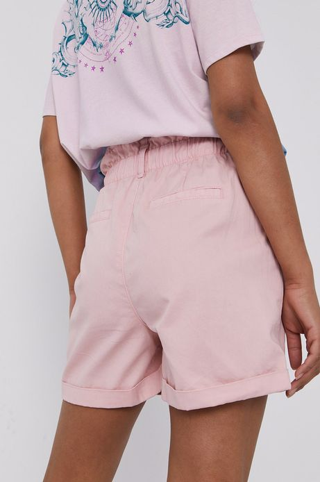 Szorty damskie z talią paperbag różowe