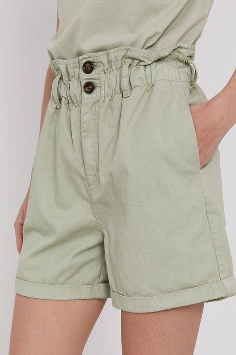 Szorty damskie z talią paperbag zielone