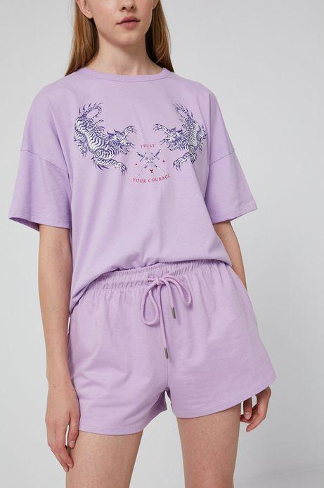 Szorty damskie z bawełnianej dzianiny fioletowe