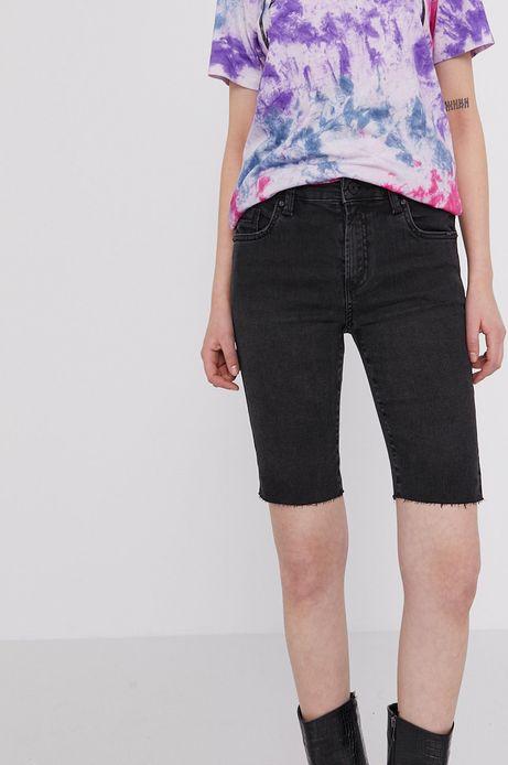 Jeansowe szorty damskie z ozdobnymi wystrzępieniami czarne