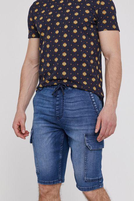 Jeansowe szorty męskie z kieszeniami cargo niebieskie