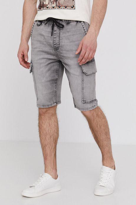 Jeansowe szorty męskie z kieszeniami cargo szare