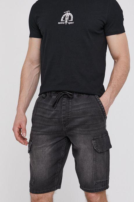Jeansowe szorty męskie z kieszeniami cargo czarne
