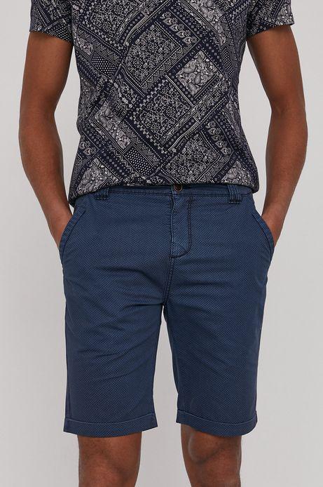 Bawełniane szorty męskie w drobny wzór niebieskie