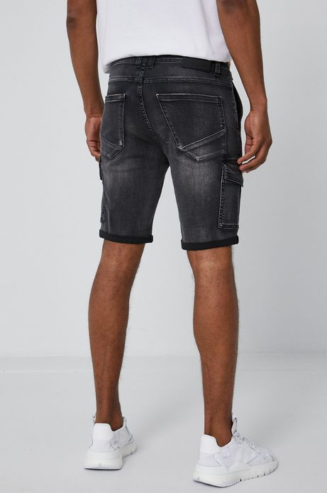 Szorty męskie jeansowe z kieszeniami cargo szare