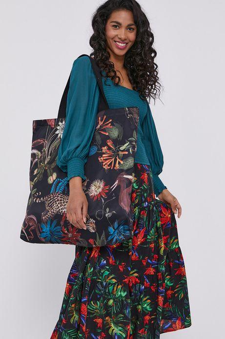 Torebka damska shopper w tropikalny wzór czarna