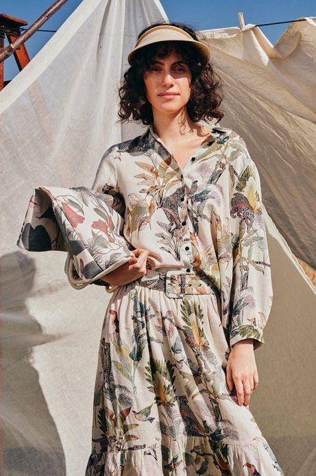 Torebka damska z wzorzystej bawełny beżowa