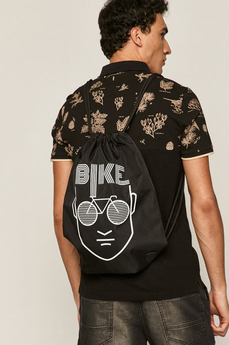 Plecak worek męski z poliestru z recyklingu czarny