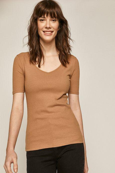 T-shirt damski z bawełną organiczną beżowy