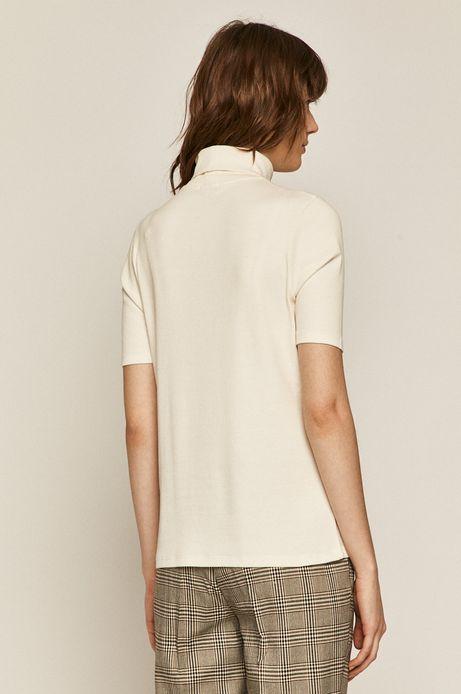 T-shirt damski z golfem kremowy