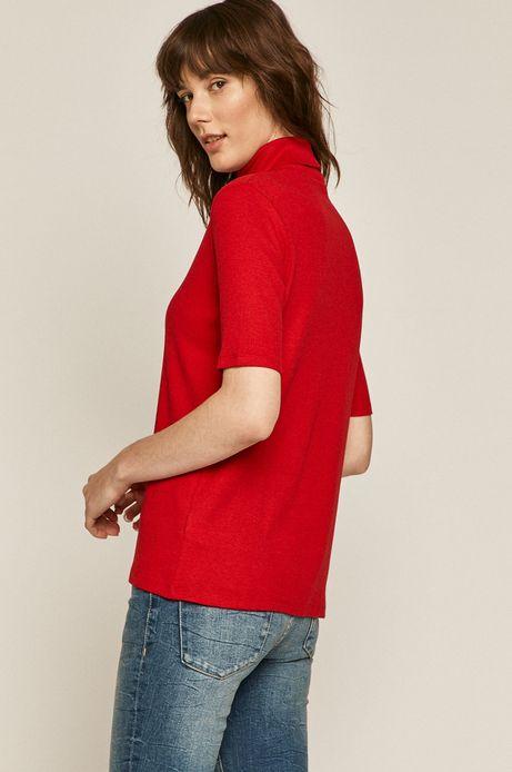 T-shirt damski z golfem czerwony