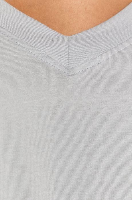 T-shirt damski z bawełny organicznej z dekoltem V niebieski
