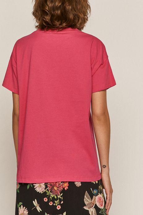T-shirt damski z bawełny organicznej z dekoltem V różowy