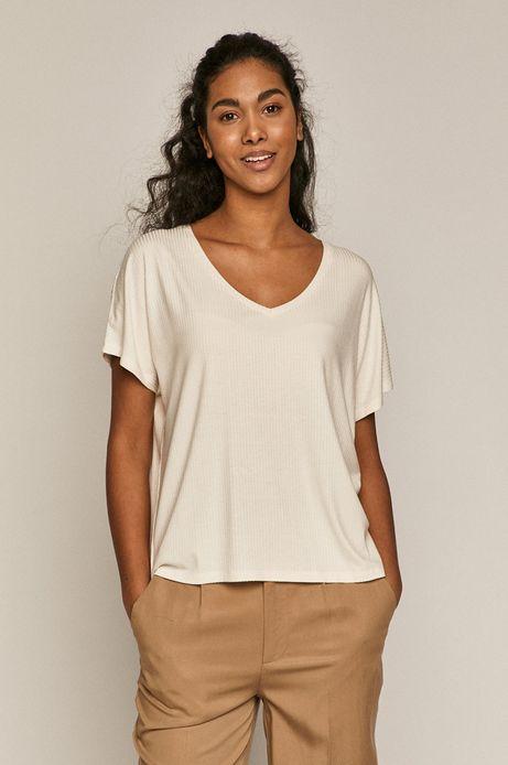 T-shirt damski oversize z prążkowanej dzianiny kremowy